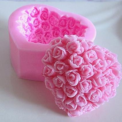 creamily 3D Rosas corazón Flor Forma Molde Hecho a Mano jabón Pastel Postre para glaseado y