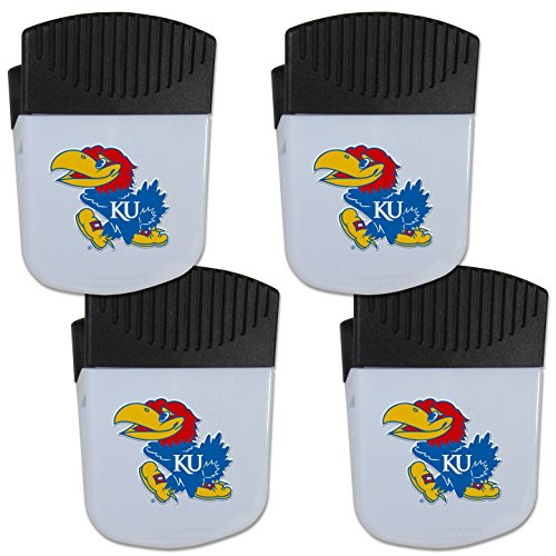 Siskiyou NCAA Kansas Jayhawks Chip Clip Magnet with Bottle Opener, 4 Pack