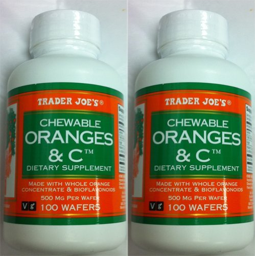 2-bottles-trader-joes-chewable-oranges-c-dietary-supplement