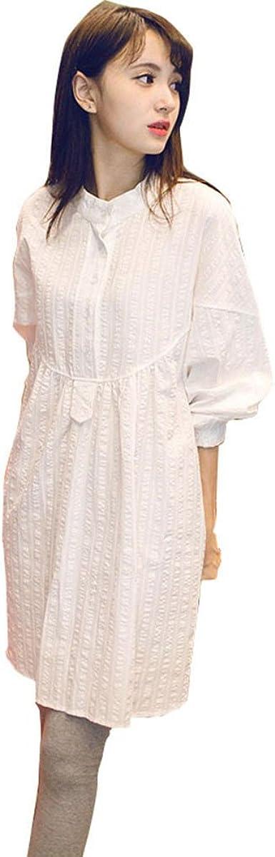 HZFF La primavera y el otoño vestido de maternidad revestir gran collar de la camisa blanca suelta marea código en la camisa de manga larga vestido mujer, XXL, blanco: Amazon.es: Ropa y