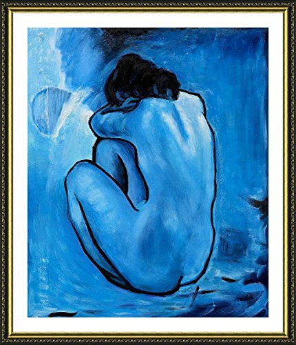 "Alonline Art - Blue Nude Pablo Picasso Gold FRAMED POSTER (Print on 100% Cotton CANVAS on foam board) - READY TO HANG | 24""x27"" 