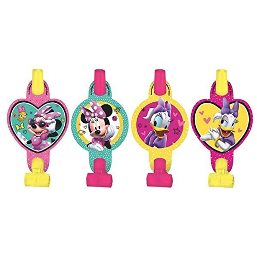 Disney Minnie Mouse Blowouts Birthday Party Toy Noisemaker Favour and Prize Giveaway (8 Pack), Multi Color, 5 5/8