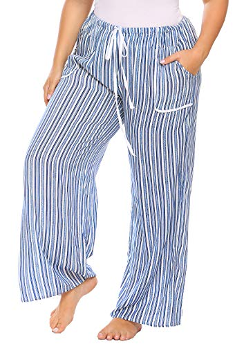 Pants Pajama Striped Flannel (IN'VOLAND Women Plus Size Sleepwear Drawstring Waist Striped Casual Loose Pajama Pants)
