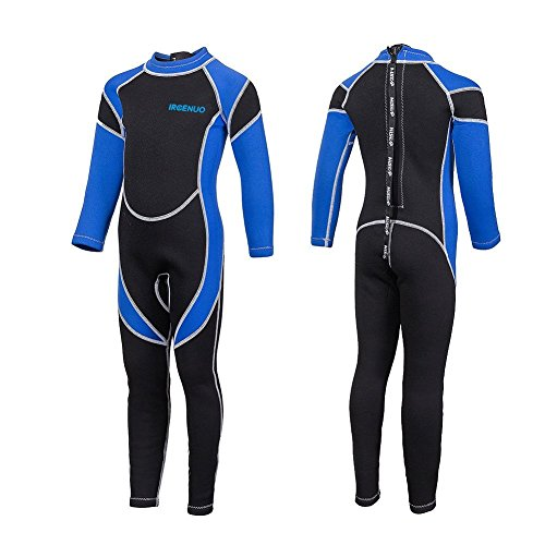 Girls Wetsuit (IREENUO Kids Wetsuit Neoprene 2.5mm Thick Long Sleeve One Piece UV Protection Sun Protection Sunsuit Wetsuit for Girls Boys(Blue,10#))