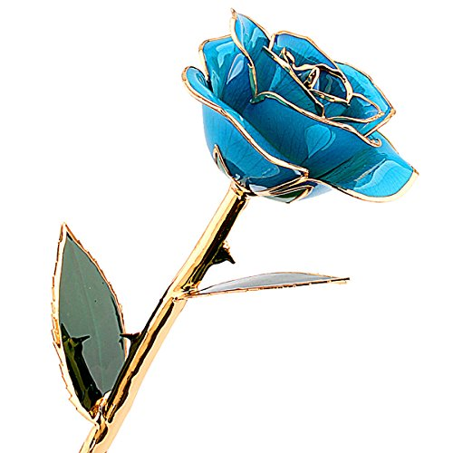 ZJchao 24 Carat Gold Trimmed Rose Flower Gift for Her Valentine's Day, Mother's Day, Anniversary, Wedding, Home Decor (Light Blue) (24k Gold Trimmed Vase)