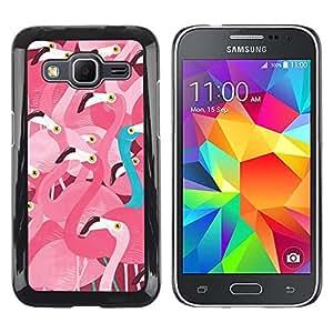 Be Good Phone Accessory // Dura Cáscara cubierta Protectora Caso Carcasa Funda de Protección para Samsung Galaxy Core Prime SM-G360 // Pink Flamingo Teal Different Message