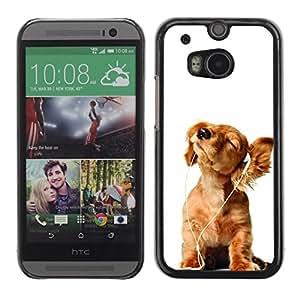 TopCaseStore / la caja del caucho duro de la cubierta de protección de la piel - Golden Retriever White Music Puppy - HTC One M8