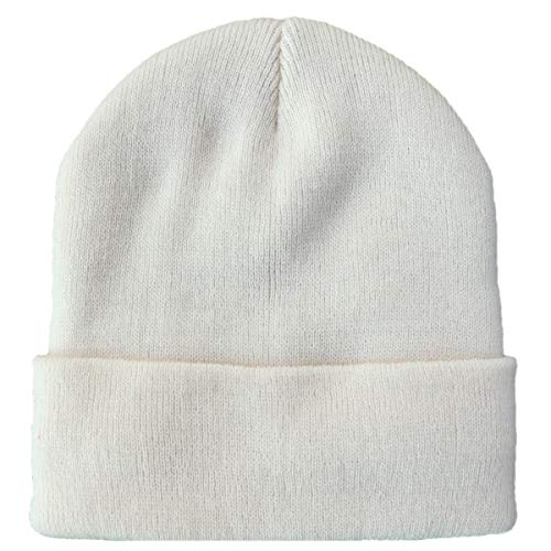 TELEA Thick Winter Warm Cuffed Beanie with Soft Lining Adult Size for Men and Women Off-White