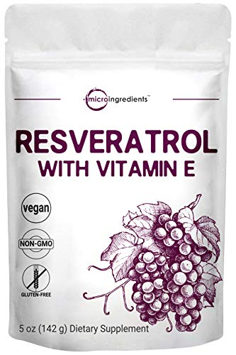 Trans-Resveratrol Powder with Natural Vitamin E, 5 Ounce, Premium Resveratrol Supplement and Resveratrol Complex, Super Antioxidant for Cardiovascular & Immune System Support, Vegan Friendly