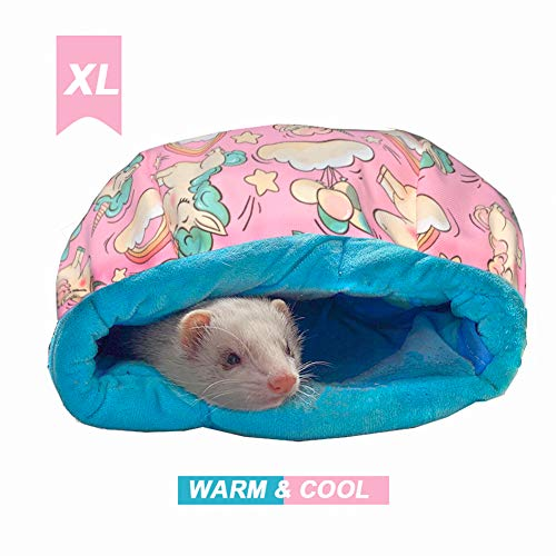 FULUE Ferret Rat Small Animal Bed Cave House and Hideouts Aceessories Kit for Cage Supplement for Ferret Guniea Pig (Pink)