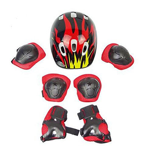 Black Flame Skating Cycling Skateboarding Gear Sets( Helmet/knee pads/gauntlets)