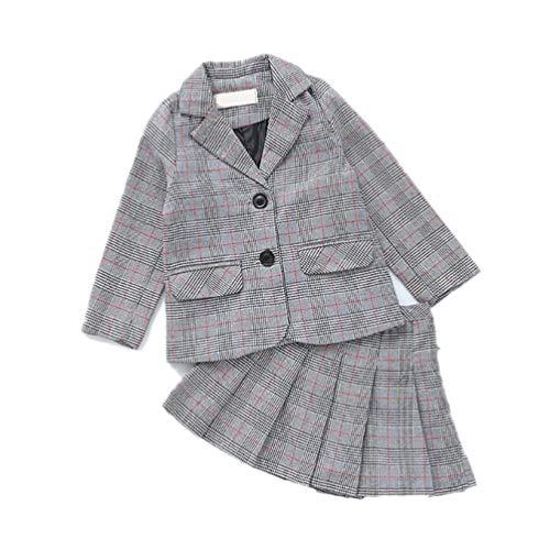 JIANLANPTT Baby Girls Clothing Sets England Plaid Blazer + Pleated Skirt 2Pcs Children Uniform Clothing Set 7-8Years Red -