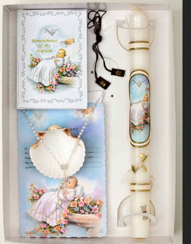 Baptism Gift Set, Remembrance Missal, Sculptured Paraffin Candle with Matching Design, Mini Remembrance Certificate, 3mm Pearl Rosary, Small Scapular, Natural Seashell
