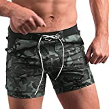 Dasuy Men's Swim Trunks Swimwear Swimming Shorts Men Running Athletic Quick Dry Pants with Pockets Size S-2XL (S, Green)