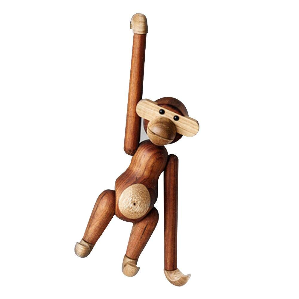 GREENWISH Wooden Hanging Monkey Doll Figurine Solid Wood Animal Statues Decorations for Home Different Poses Danish Monkey Toys Birthday Gifts Crafts for Kids Ornaments