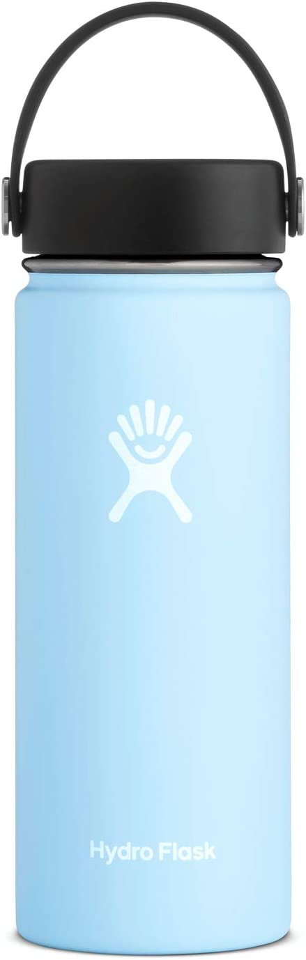 Hydro Flask Water Bottle - Stainless Steel & Vacuum Insulated - Wide Mouth with Leak Proof Flex Cap - 18 oz, Frost