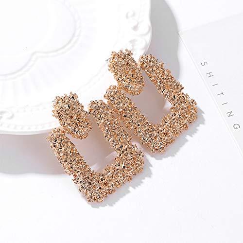 (Staron  Womens Girls Ear Jewelry Stainless Steel Scrub Elegant Charm Boho Statement Big Geometric Rectangle Drop Dangle Stud Earrings (Gold))