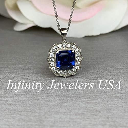 Asscher Diamond Necklace - Asscher Cut Blue Sapphire Pendant/Diamond Halo Necklace/Sapphire and Moissanite Necklace / 18
