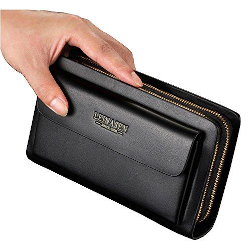Clutch Handbag Double Zipper Leather Men Bag Black - 5