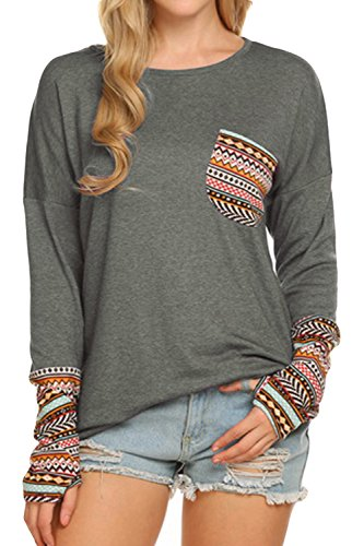 POGTMM Women's Long Sleeve O-Neck Patchwork Casual Loose T-Shirts Blouse Tops (S, Gray)