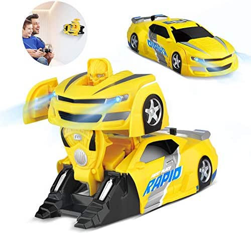 Baztoy Remote Control Car Transform Toys for 3, 4, 5+ Year Old Boys Girls One Button to Robot Deformation Driving on Wall RC Racing Vehicle 360° Rotation Stunt with LED Light for Kids Gifts