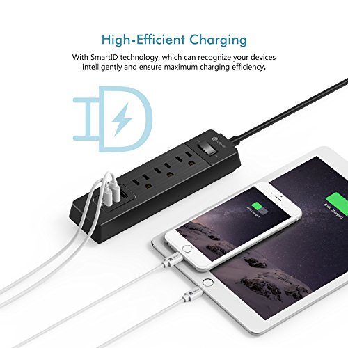 [Overload Switch Control] iClever BoostStrip IC-BS04 Power Strip   USB Charger with 3 USB + 3 AC Outlets, 6ft Extension Cord Charging Station - Black by iClever (Image #2)