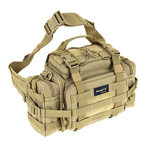 SHANGRI-LA Tactical Assault Gear Sling Pack Range Bag Hiking Fanny Pack Waist Bag Shoulder Backpack EDC Camera Bag MOLLE Modular Deployment Compact Utility Carry Bag Heavy Duty with Shoulder Strap ()
