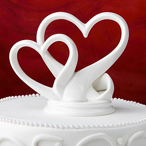 KateMelon Wedding Accessories Double Heart White Cake Topper, 4-3/4-Inch Tall