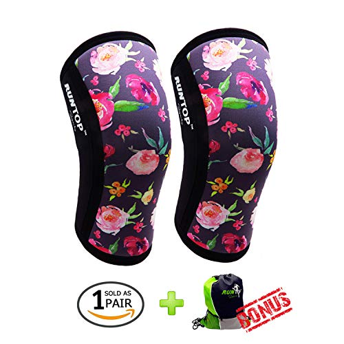 13ff96f509 Knee Sleeves (1 Pair) 7 mm Neoprene Best Knee Supports Pain Compression  Brace Cap for Squats, Crossfit WODS Weightlifting Powerlifting Strong Knee  Pads for ...