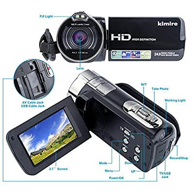 Digital Camera Camcorders Kimire HD Recorder 1080P 24 MP 16X Powerful Digital Zoom Video Camcorder 2.7 Inch LCD Stabilization with 270 Degree Rotation Screen Camera Bag Lithium Battery