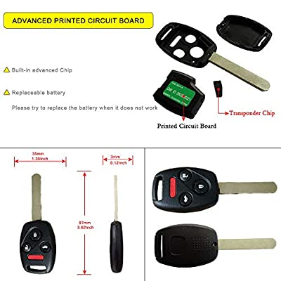 YITAMOTOR Key Fob Replacement for OUCG8D-380H-A Uncut Car Ignition Keyless Entry Remote Compatible for Honda Accord 2003-2007 (Pack of 2): Car Electronics
