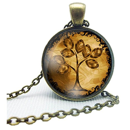 Doinshop New Useful Cute Nice Life Tree Pendant Necklace Art Tree Glass Cabochon Bronze Necklace - New Glasses 2015