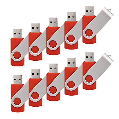 100 Pack 4G USB Flash Drive USB 2.0 4GB Flash Drive Memory Stick Fold Storage Thumb Stick Pen New Swivel Design Red by raoyi