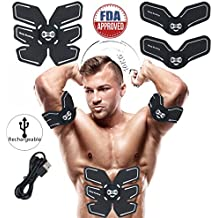 Abs Stimulator Rechargeable Trainer Ultimate Abs Stimulator Ab Stimulator for Men Women Abdominal Work Out Ads Power Fitness Abs Training Gear ABS Workout Equipment Portable USB Charger