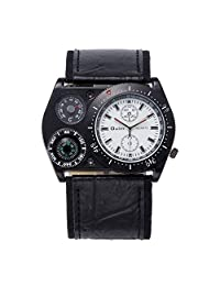 OULM Mens Military Sport Muli-Function PU Leather Thermometer Compass Wrist Watches-White