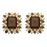 Emerald-Cut Genuine Smoky Topaz and CZ Accent 14k Gold-Plated Halo Earrings