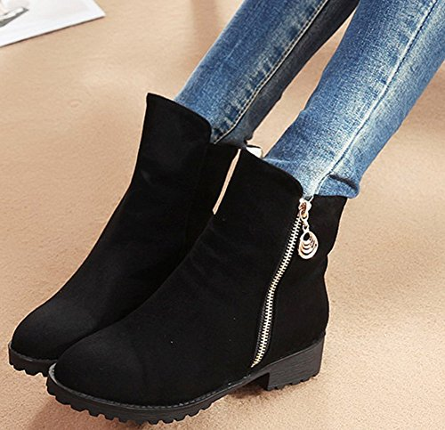 Ankle Booties Short Chunky Toe Martin Elegant Faux Mid High IDIFU Black Zip Womens Round Heeled Suede Up x4HTw7Rq