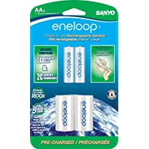 """eneloop AA with """"C"""" Spacers, 1800 cycle, Ni-MH Pre-Charged Rechargeable Batteries, 2 Pack"""