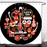 Interestlee Shower Curtain Futuristic Recording Studio illustration Round shape art collage of a musical instruments and electronic equipment isolated on a black background 60010521