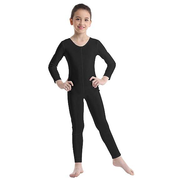 TiaoBug Bodies Jumpsuit Mono para Danza Gimnasia Rítmica Leotardo Body Básico Clásico Manga Larga para Ballet Deporte Niñas Niños 5-12 Años