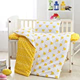 Crib Bedding Set For Boys Girls 100% Organic Combed Cotton 3 Pieces Set Quilt Cover Bedsheet Pillow Sham Yellow Crown