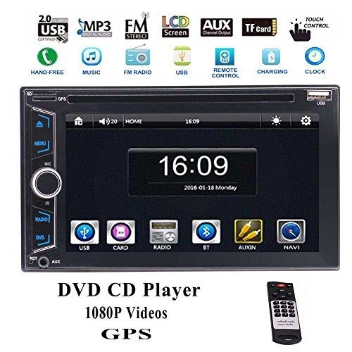 EinCar Auto Radio Double 2Din 6.2 Inch in Dash Head Unit HD Touchscreen 1080P Videos Blutooth GPS Navigation DVD CD MP3 Player Rewind Camera Multimedia Stereo+Wireless Remote ()