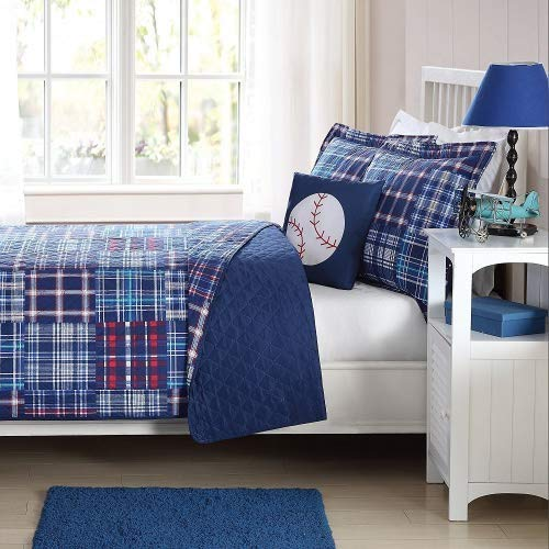 My World Quilt Mini Set with BONUS Decorative Pillow (Navy Plaid Patch, Twin)