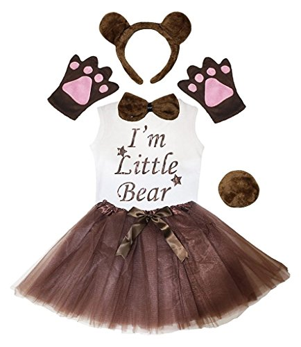 Petitebella Headband Bowtie Tail Gloves Shirt Skirt 6pc Girl Costume (Bear, 5-6 Yr) -