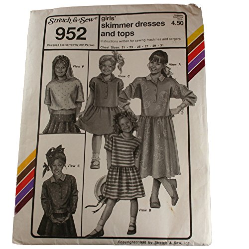 Stretch & Sew 952 Pattern Girls Skimmer Dresses and Tops Size 21,23,25,27,29,31