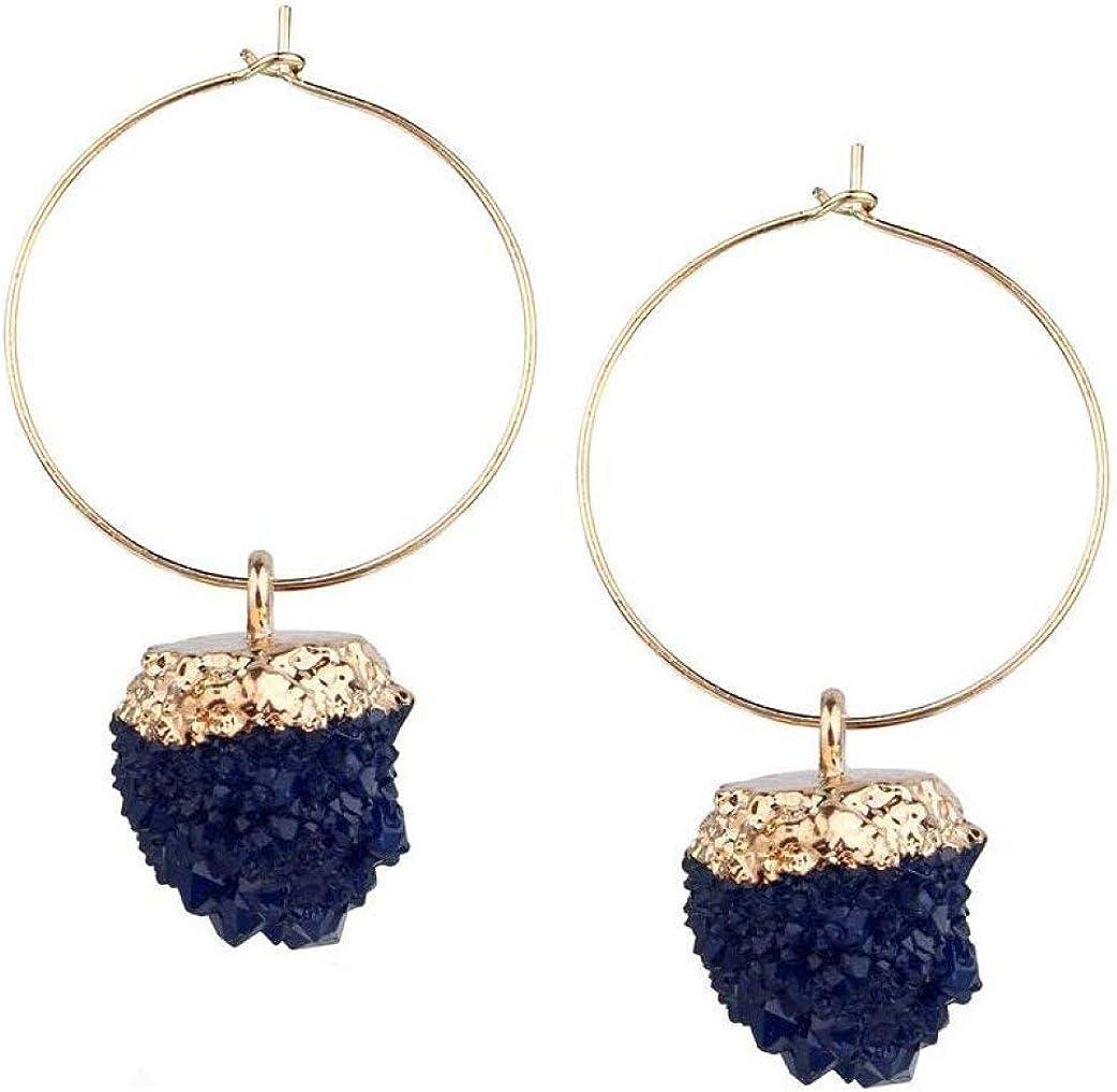 Pendientes colgantes de piedra de moda Pendientes de resina coloridos para joyería de mujer Pendiente perforado de gota larga