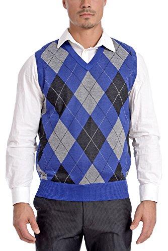Argyle Vest (TR Fashion Men's Soft Stretch Argyle V-Neck Casual Pullover Vest (XX-Large))
