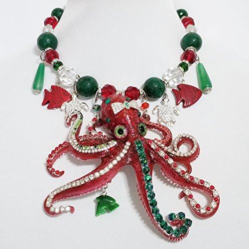 Crystal Enamel Octopus Turtles Signed Runway Gemstone Necklace Earrings One of a Kind - Enamel Earrings Signed