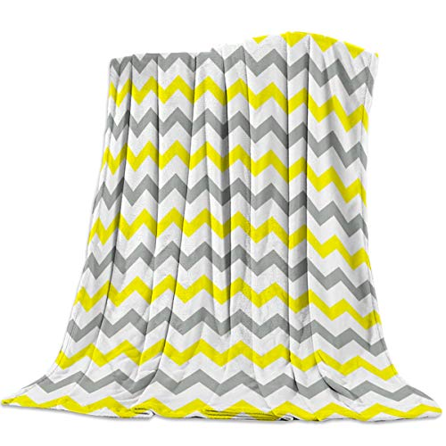 (OUR WINGS Soft Throw Blanket,Couch Rugs,Bed Carpet,Yellow-White Ash Wave (39 x 49 in,Flannel Fleece) Blanket,Great Gift for)