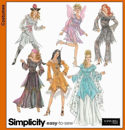 Simplicity Easy to Sew Pattern Costumes for Adults 5363 Size Hh 6,8,10,12 -